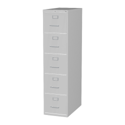 """Lorell® Fortress 26-1/2""""D Vertical 5-Drawer Letter-Size File Cabinet, Metal, Light Gray"""