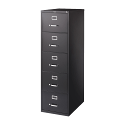 "Lorell® Fortress 26-1/2""D Vertical 5-Drawer Legal-Size File Cabinet, Metal, Black"
