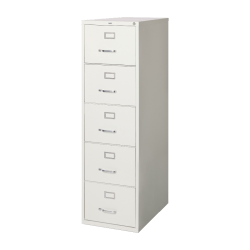 "Lorell® Fortress 26-1/2""D Vertical 5-Drawer Legal-Size File Cabinet, Metal, Light Gray"