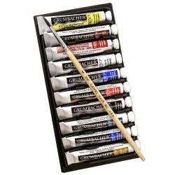 Grumbacher Academy Basic Tube Watercolor Set, 0.25 Oz, Assorted Colors, Set Of 10