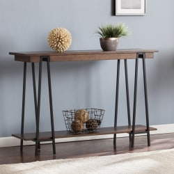 Southern Enterprises Yourman Console Table, Rectangle, Dark Tobacco/Black