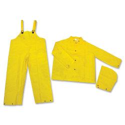 MCR Safety 3-Piece Rainsuit, XL, Yellow