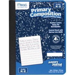 """Mead Primary K-2 Creative Story Journal - 100 Sheets - 200 Pages - Printed - Book Bound - 7 1/2"""" x 9 1/2"""" - Durable Cover, Manuscript Alphabet - 12 / Each"""