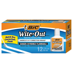 BIC® Wite-Out® Correction Fluid With Foam Applicator, Quick Dry, White, Pack Of 12