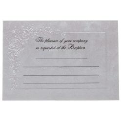 "JAM Paper® Wedding Reception Invitations, 4-7/8"" x 3-3/8"", Metallic/Flowers, Pack Of 25 Invitations"