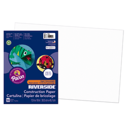"""Riverside® Groundwood Construction Paper, 100% Recycled, 12"""" x 18"""", White, Pack Of 50"""
