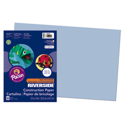 """Riverside® Groundwood Construction Paper, 100% Recycled, 12"""" x 18"""", Light Blue, Pack Of 50"""