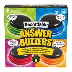 Learning Resources Recordable Answer Buzzers - Theme/Subject: Learning - Skill Learning: Sound, Game - 4 Pieces - 3+ - 4 / Pack