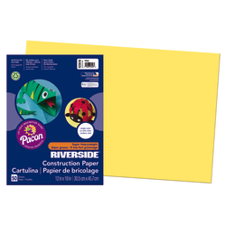 "Riverside® Groundwood Construction Paper, 100% Recycled, 12"" x 18"", Yellow, Pack Of 50"
