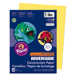 "Riverside® Groundwood Construction Paper, 100% Recycled, 9"" x 12"", Yellow, Pack Of 50"