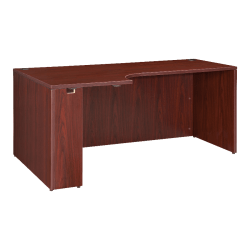 "Lorell® Essentials Series Corner Credenza Shell Desk, Left, 66""W, Mahogany"