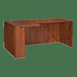 "Lorell® Essentials Series Corner Credenza Shell Desk, Left, 66""W, Cherry"
