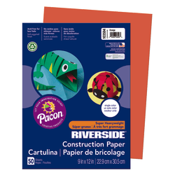 "Riverside® Groundwood Construction Paper, 100% Recycled, 9"" x 12"", Orange, Pack Of 50"