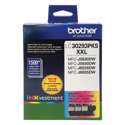 Brother® INKvestment LC30293PKS High-Yield Cyan/Magenta/Yellow Ink Cartridges, Pack Of 3