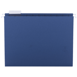 Smead® Hanging File Folders, 1/5-Cut Adjustable Tab, Letter Size, Navy, Box Of 25
