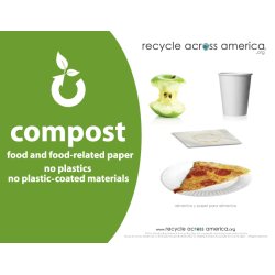 """Recycle Across America Compost Standardized Labels, COMP-8511, 8 1/2"""" x 11"""", Green"""