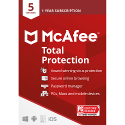 McAfee® Total Protection, For PC or Mac® 5 Devices, 1 Year Subscription, Download