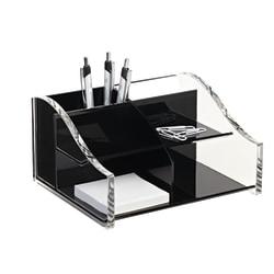 "Realspace™ Acrylic Desk Organizer, 4 5/16"" x 7 1/8"" x 8 1/8"", Black/Clear"