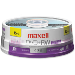 Maxell® DVD+RW Rewritable Media Spindle, 4.7GB/120 Minutes, Pack Of 15