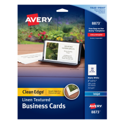 """Avery® Inkjet Clean-Edge Business Cards, 2-Sided, 2"""" x 3 1/2"""", White Linen, Pack Of 200"""
