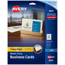 """Avery® Inkjet Clean-Edge Business Cards, 2-Sided, 2"""" x 3 1/2"""", Ivory Matte, Pack Of 200"""