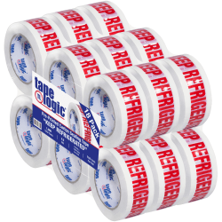 """Tape Logic® Pre-Printed Carton Sealing Tape, Keep Refrigerated, 2"""" x 110 Yd, White/Red, Case Of 18"""