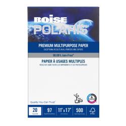 "Boise® POLARIS® Premium Multi-Use Paper, Ledger Size (11"" x 17""), 97 (U.S.) Brightness, 20 Lb, Ream Of 500 Sheets, Case Of 5 Reams"