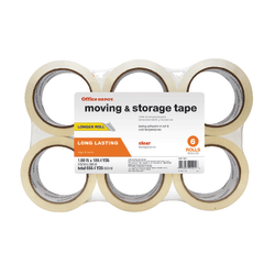 "Office Depot Brand® Brand Moving & Storage Tape, 1-9/10"" x 109.4 Yd., Clear, Pack Of 6 Rolls"