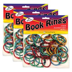 "The Pencil Grip Book Rings, 1"", 175-Sheet Capacity, Assorted Colors, 50 Rings Per Pack, Set Of 3 Packs"