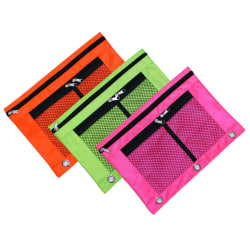 Inkology Large Window Pencil Pouches, Assorted Neon Colors, Pack Of 12 Pouches
