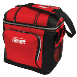 """Coleman Soft-Side 30-Can Cooler, 13""""H x 10 1/8""""W x 12 3/8""""D, Red"""