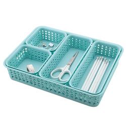 See Jane Work® Plastic Weave Bins, Blue, Pack Of 5