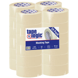 "Tape Logic® 2400 Masking Tape, 3"" Core, 2"" x 180', Natural, Pack Of 24"