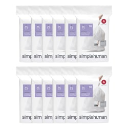 simplehuman Custom-Fit Can Liners, 0.03 mil, 1.2 Gallons, White, Pack Of 360 Liners