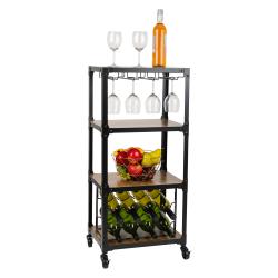 Mind Reader 4-Tier Wood And Metal Cart With Wine Rack, Black