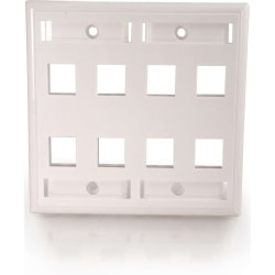 C2G 8 Socket Keystone Network/Multimedia Faceplate - 8 x Socket(s) - White
