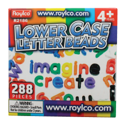 """Roylco® Lowercase Manuscript Letter Beads, 5/8 x 1"""", Assorted Colors, Pack Of 288"""