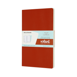"Moleskine Volant Journals, 5"" x 8-1/4"", Ruled, 96 Pages (48 Sheets), Coral Orange/Aqua Blue, Set Of 2 Journals"