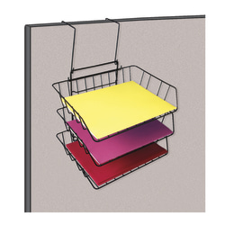 OfficeMax Wire Partition Additions Triple Tray, Black