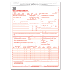 """ComplyRight™ CMS-1500 Health Insurance Claim Form (02/12), 2-Part, 8 1/2"""" x 11 1/2"""", White/Canary, Pack of 500"""