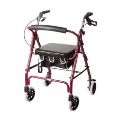 "DMI® Adjustable Aluminum Rollator With Seat, 32 1/4"" x 24 1/2"", Burgundy"
