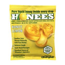 Honees Cough Drops, Honey Lemon, 20 Per Pouch, Case Of 6 Pouches