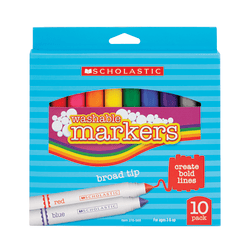 Scholastic Washable Markers, Broad Tip, Assorted Colors, Pack Of 10