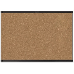 "Quartet® Prestige® 2 Magnetic Cork Bulletin Board, 3' x 2', Black Finish Aluminum Frame - 24"" Height x 36"" Width - Brown Cork Surface - Black Aluminum Frame - 1 / Each"