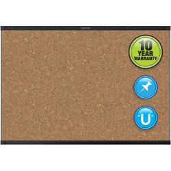 "Quartet® Prestige™ 2 Magnetic Cork Bulletin Board, 48"" x 36"", Aluminum Frame With Black Finish"