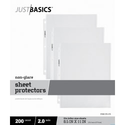 "Just Basics™ Lightweight Sheet Protectors, 8-1/2 x 11"", Semi-Clear, Non-Glare, Box Of 200"