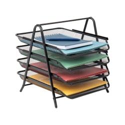 Mind Reader Steel Mesh Paper Tray Desk Organizer, 4 Tiers, Black