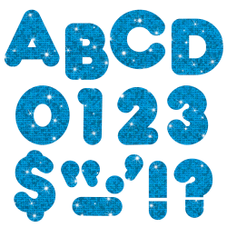 """TREND Ready Letters®, Casual, 3"""", Blue Sparkle, Pre-K - Grade 12, Pack Of 124"""