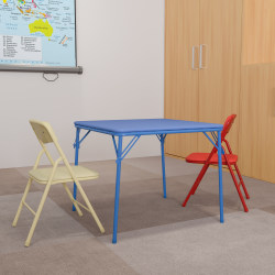"Flash Furniture Kids' Colorful Table With 2 Folding Chairs, Square, 20""W x 20""D, Blue"