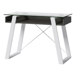 "Elle Décor® Lara 42""W Writing Desk, Cool Gray/Snow White"